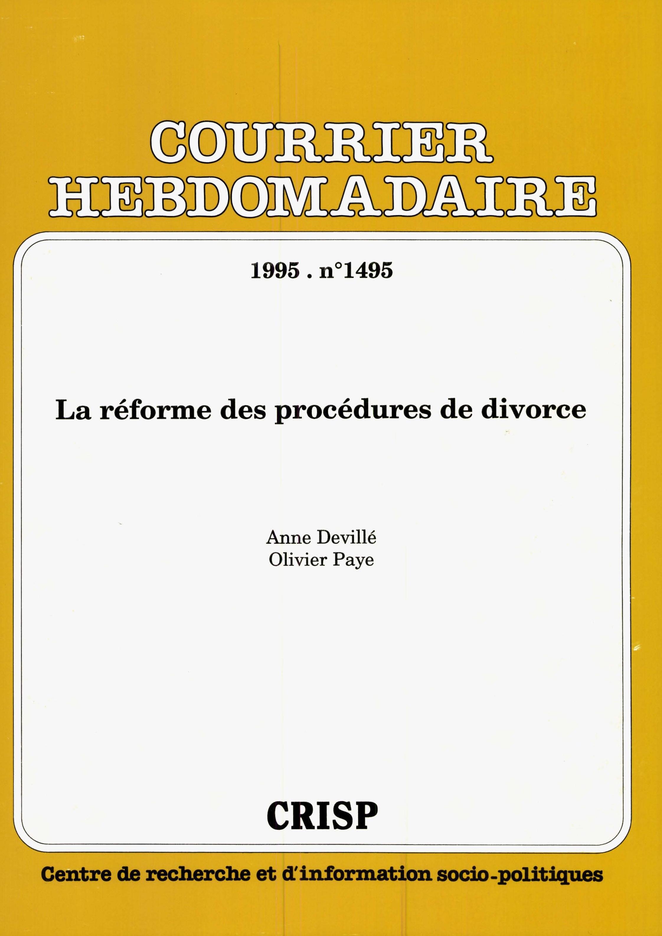 La Reforme Des Procedures De Divorce Cairn Info