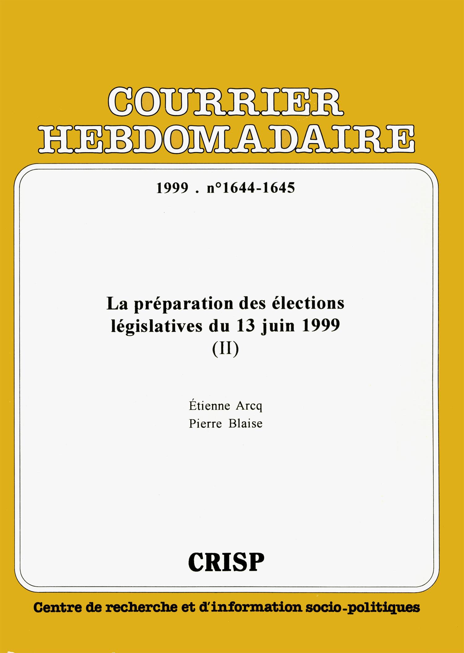 7b50d97696555a La préparation des élections législatives du 13 juin 1999 (II ...