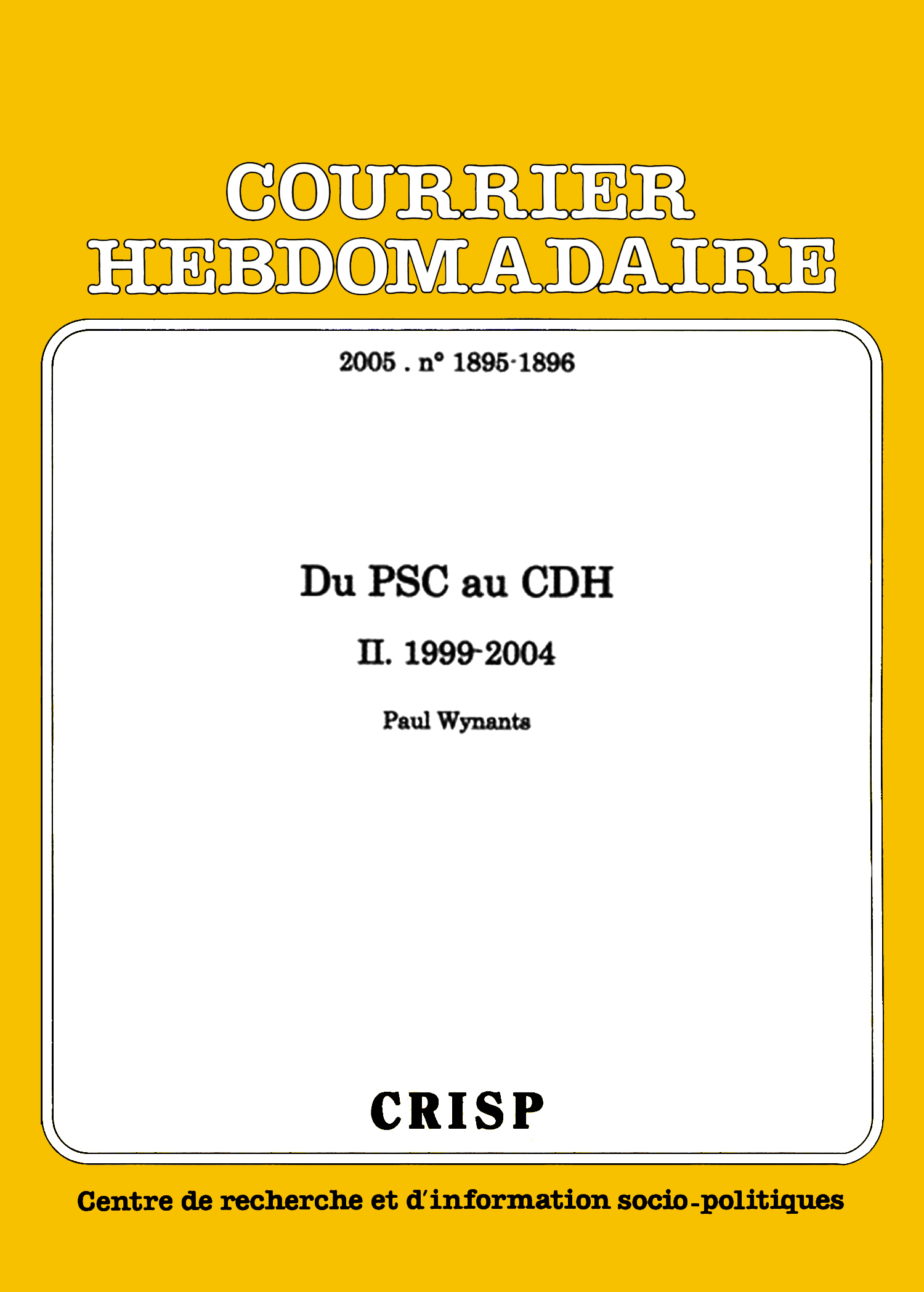 Du PSC au CDH | Cairn.info