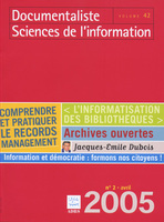 Documentaliste-Sciences de l'Information 2005/2