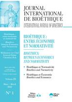Journal International de Bioéthique 2012/1