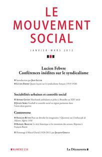 Conférences inédites de Lucien Febvre sur le syndicalisme