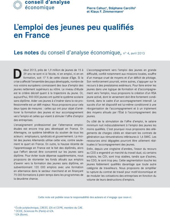 L Emploi Des Jeunes Peu Qualifies En France Cairn Info