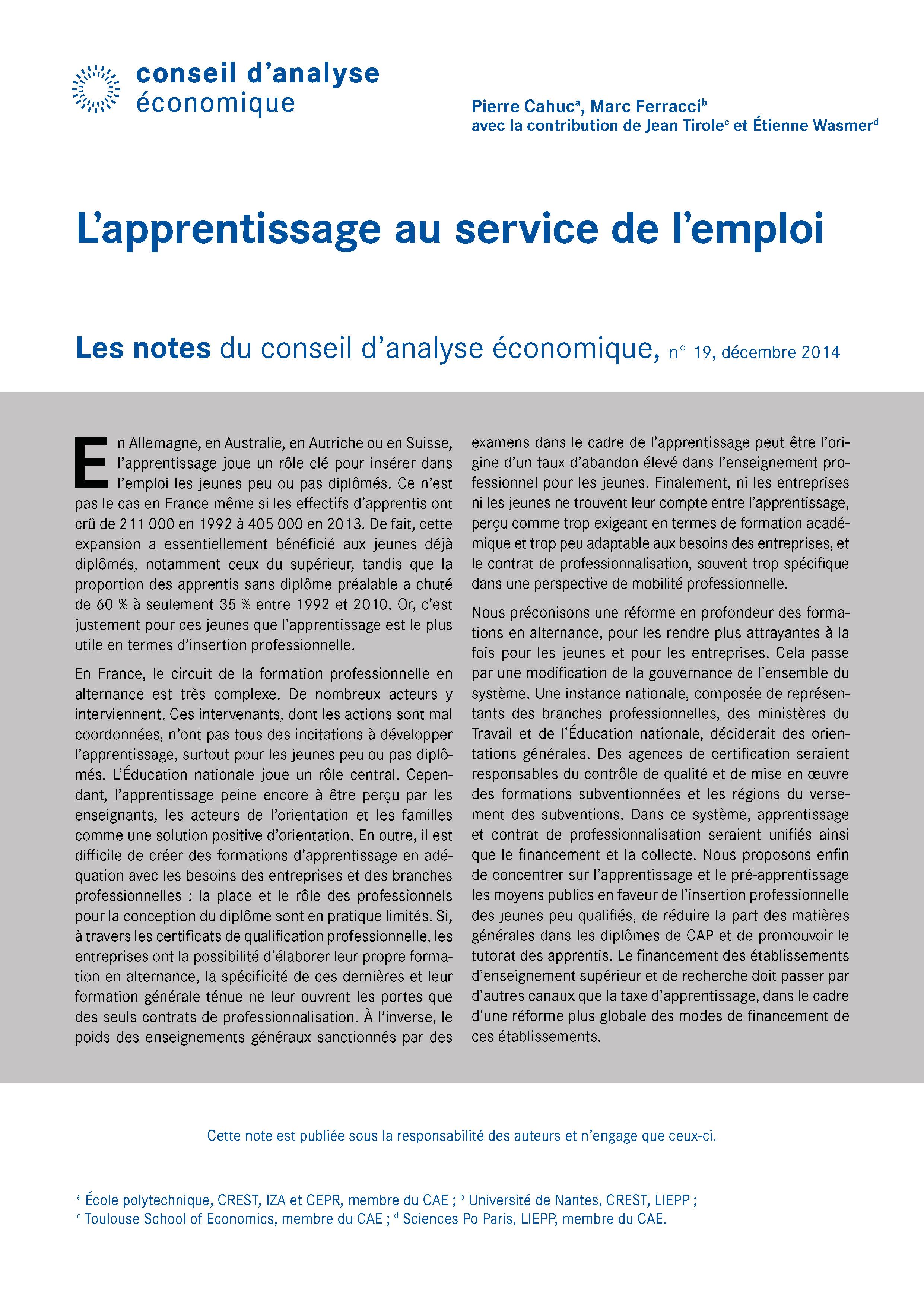 L Apprentissage Au Service De L Emploi Cairn Info