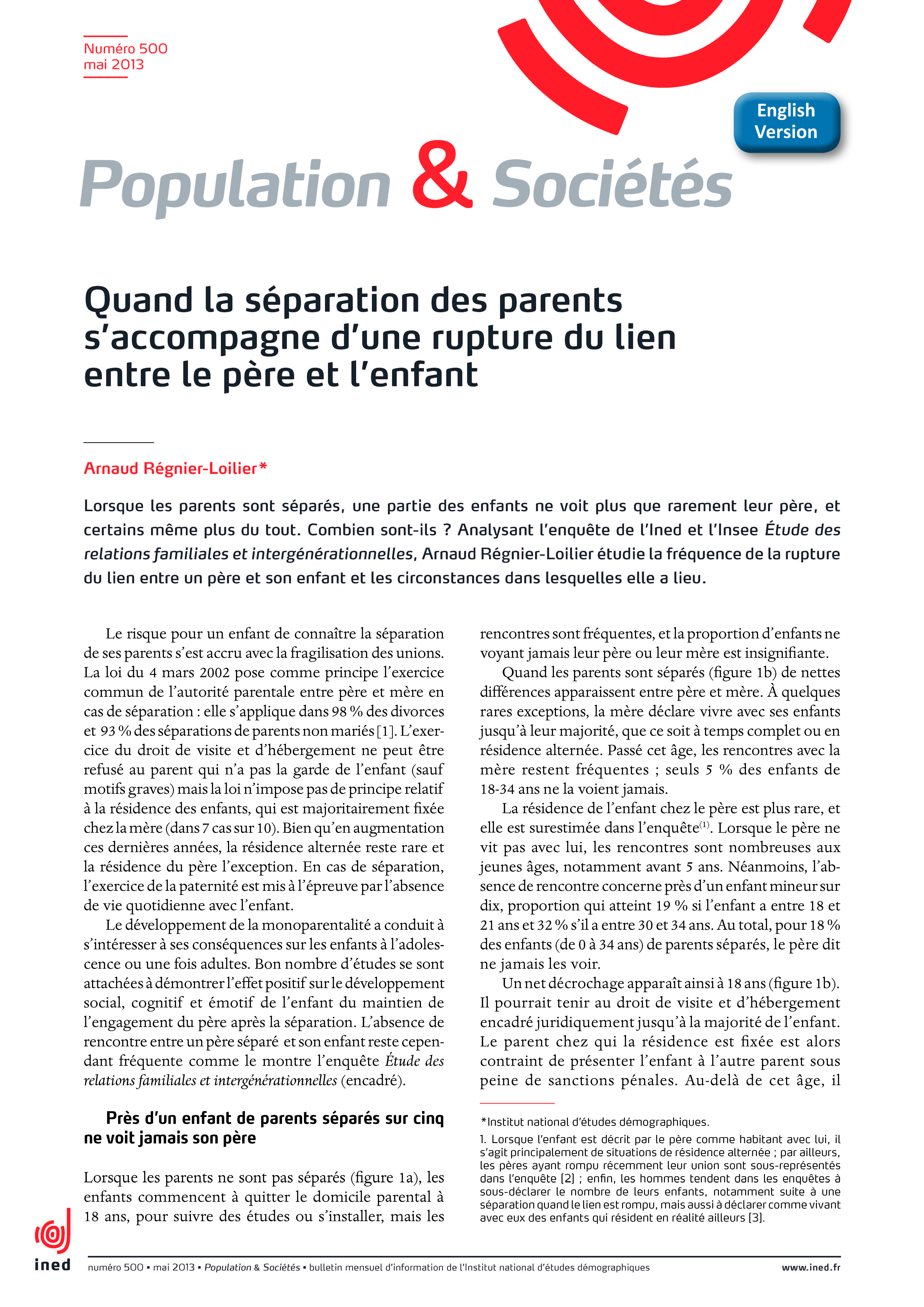 Enjeux de la séparation/divorce pour les parents et les enfants.
