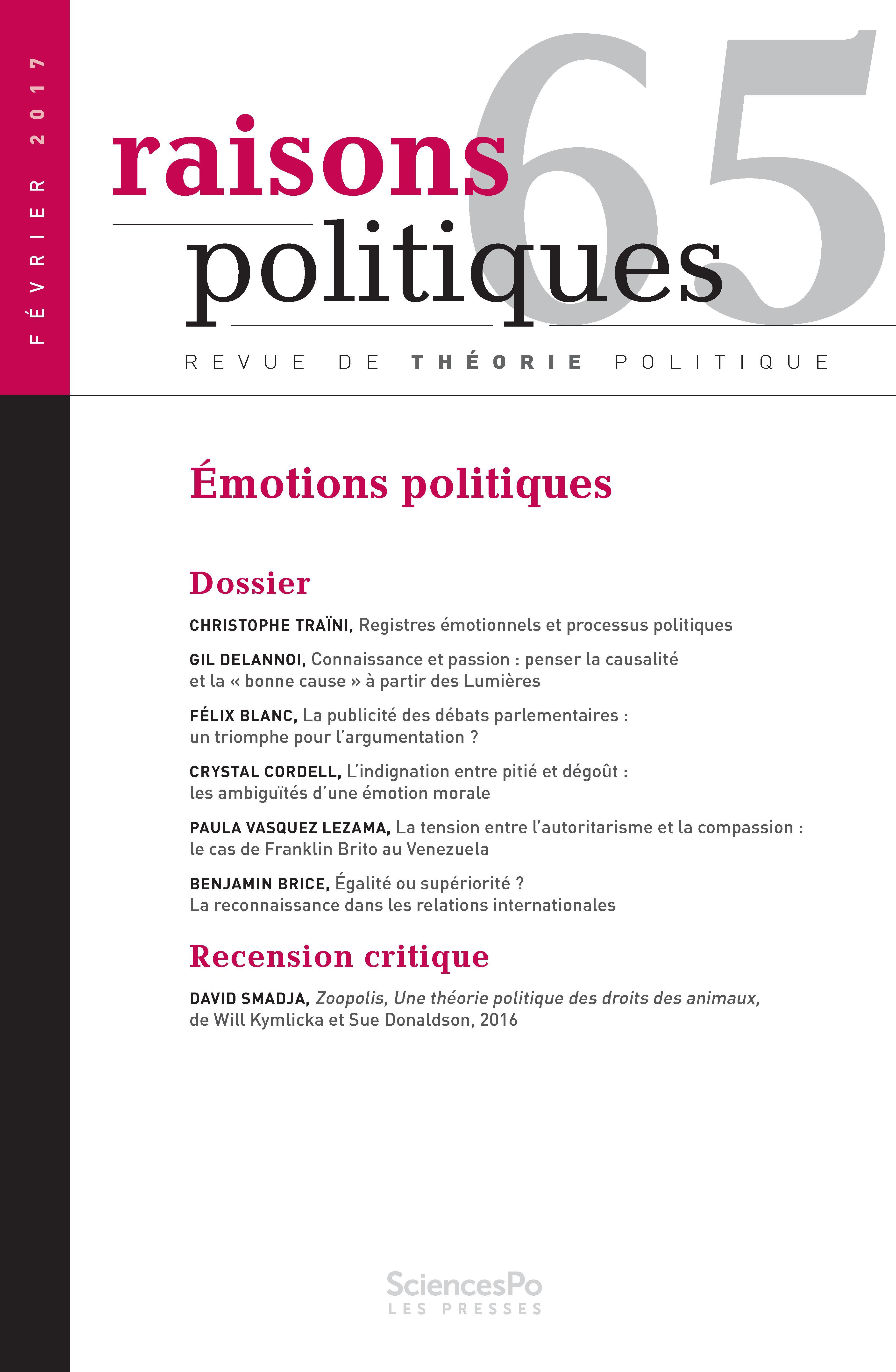Registres émotionnels et processus politiques