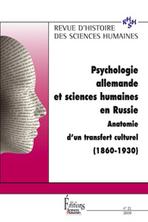 Revue d'Histoire des Sciences Humaines 2009/2