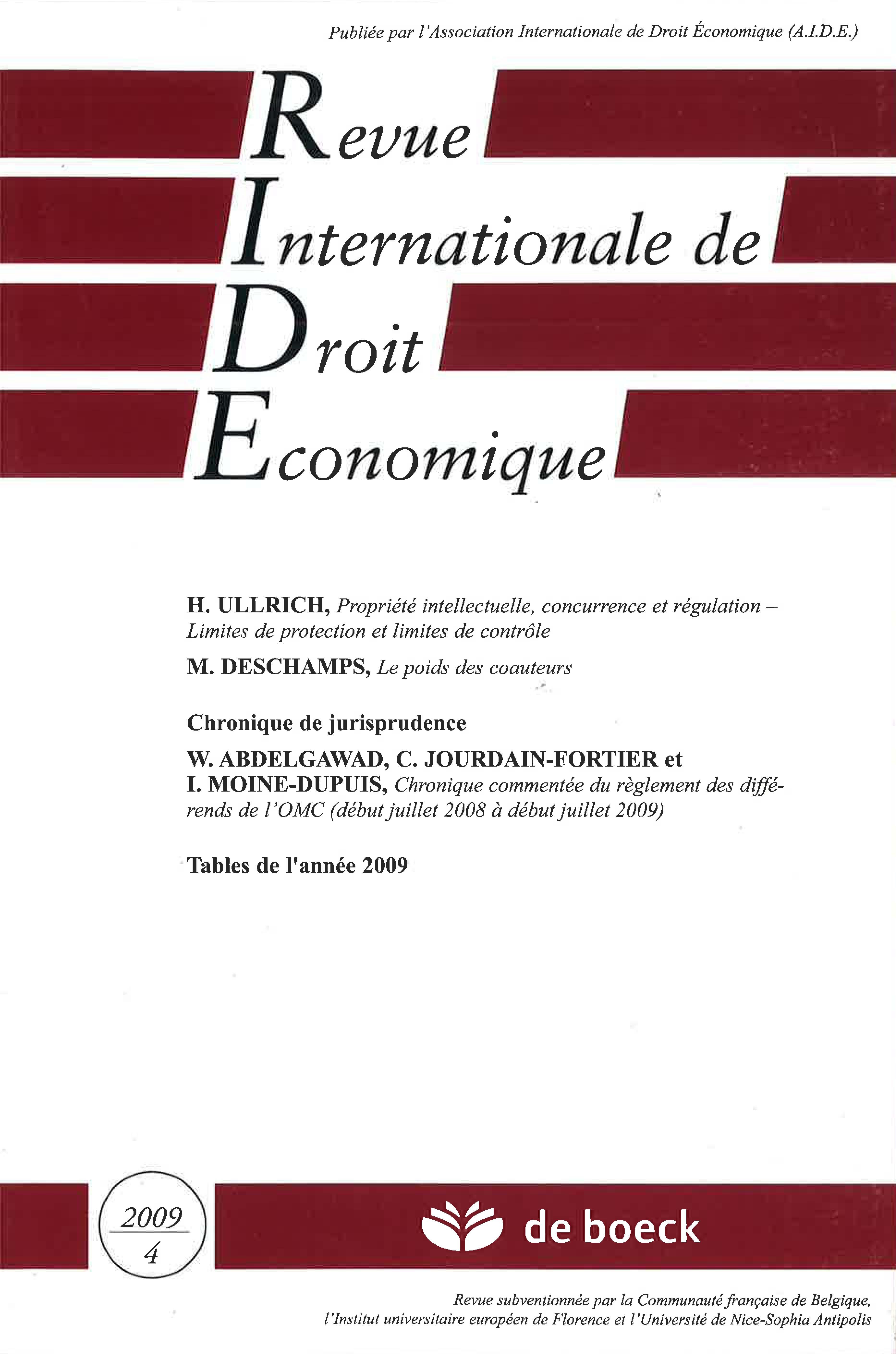 Propriété intellectuelle, concurrence et régulation – limites de protection  et limites de contrôle   Cairn.info 5bd363bf2cbd