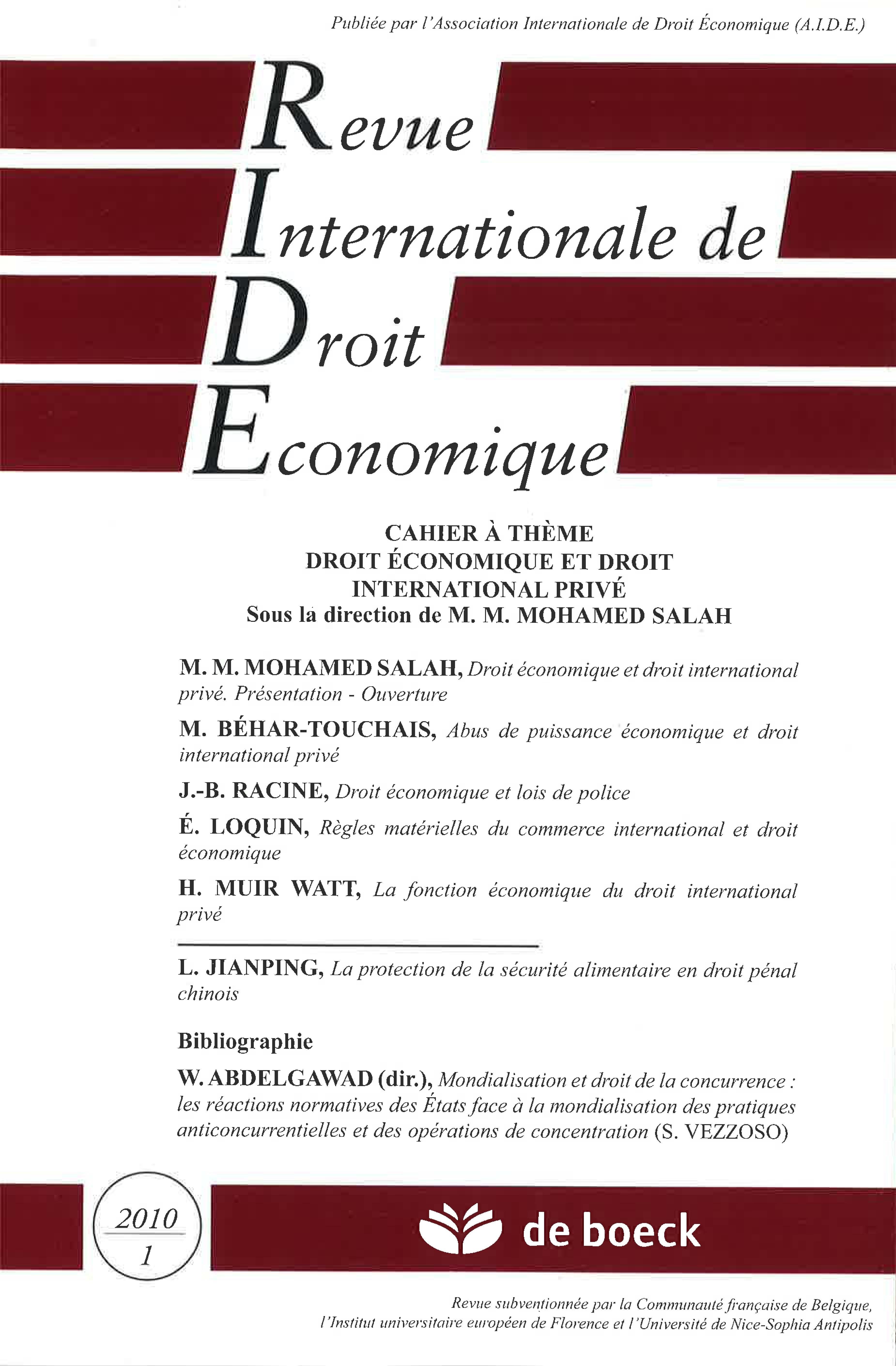 Droit économique Et Droit International Privé Cairninfo