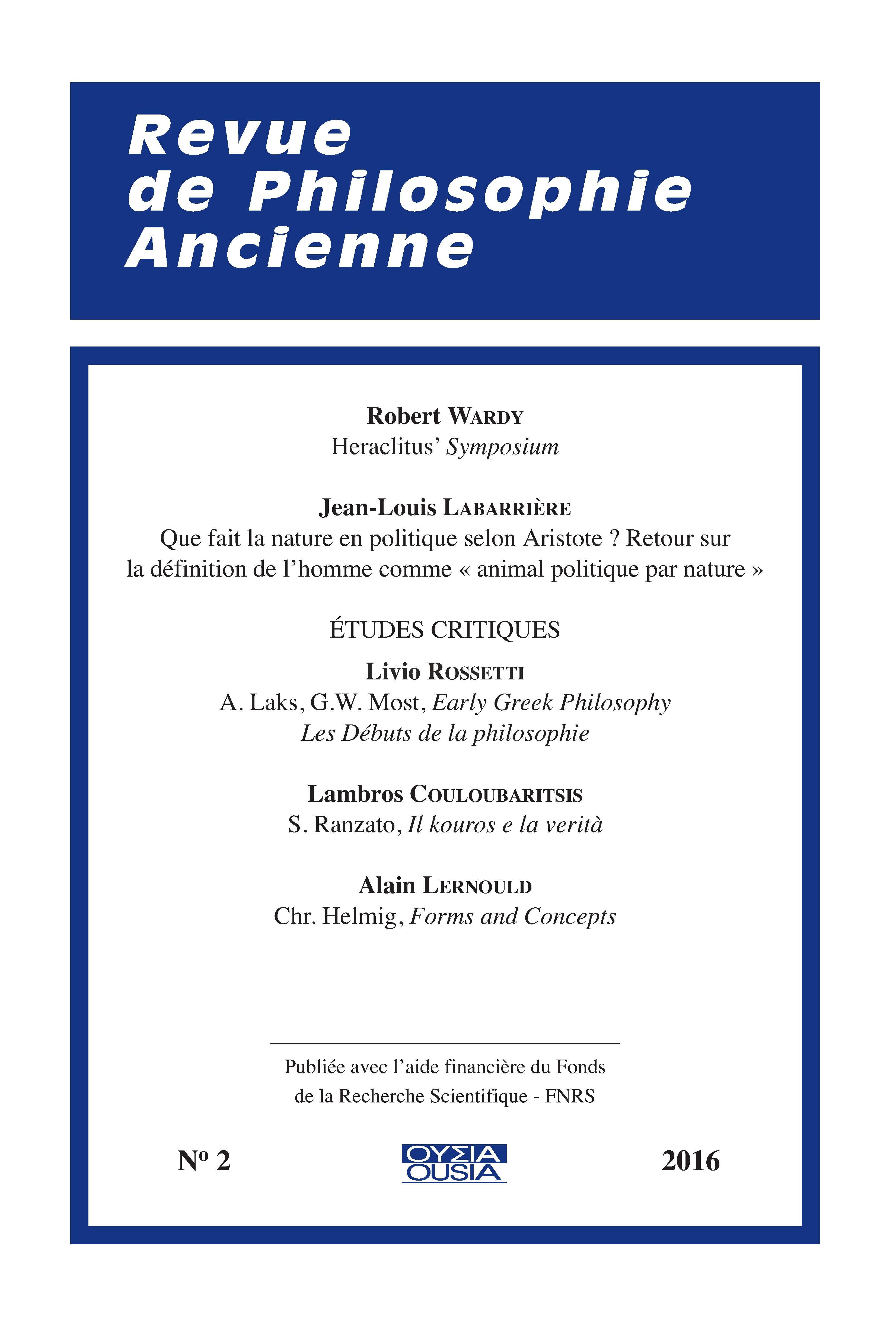 Heraclitus' Symposium   Cairn info