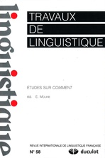 Travaux de linguistique 2009/1